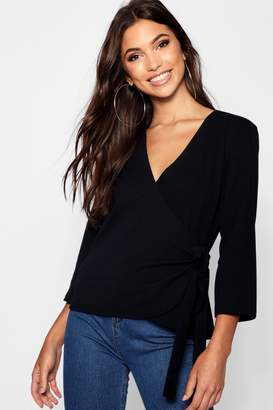 boohoo Tall Tie Side Wrap Blouse