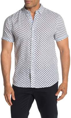 Report Collection Pineapple Print Short Sleeve Linen Shirt