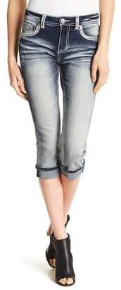 Grace In LA Denim Embroidered Sequin Accent Faded Straight Leg Capri Jeans
