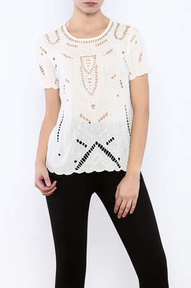 Willow & Clay Ivory Embellished Top