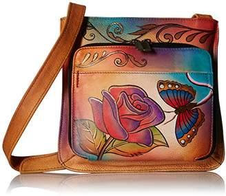 Anuschka Anna by Genuine Leather Slim Shoulder Organizer | Hand-Painted Original Artwork |