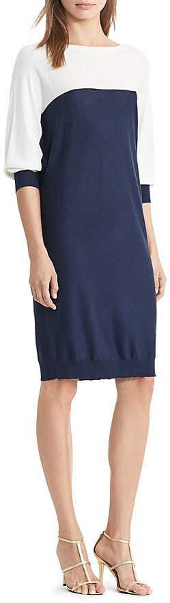 Lauren Ralph Lauren Boat Neck Color Block Sweater Dress