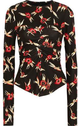 Isabel Marant Domino Ruched Floral-print Stretch-crepe Top - Black