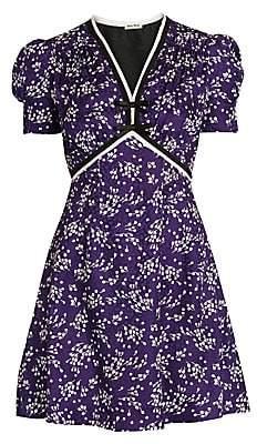 Miu Miu Women's Silk Jacquard Floral Mini Dress