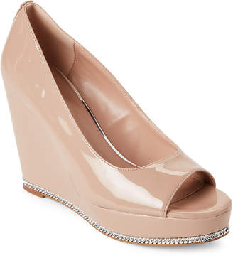 BCBGeneration Dove Jaz Patent Peep Toe Wedge Pumps