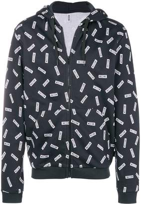Moschino printed zip front hoodie
