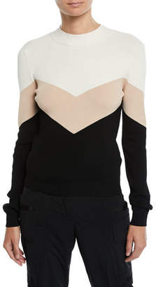 RED Valentino Colorblock Chevron Tie-Back Sweater