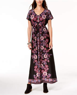 Style&Co. Style & Co Printed Tie-Waist Maxi Dress, Created for Macy's
