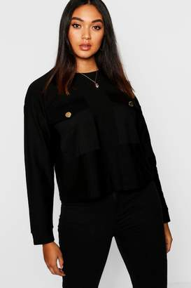 boohoo Plus Gold Button Pocket Knit Jumper