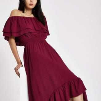 River Island Womens Purple frill bardot high low maxi dress