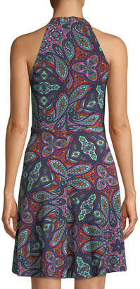 London Times Paisley Sleeveless V-Neck Fit-&-Flare Dress