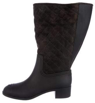 Chanel Quilted CC Rubber Boots