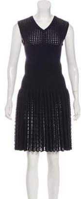 Alaà ̄a Virgin Wool Laser Cut Dress Navy Alaà ̄a Virgin Wool Laser Cut Dress