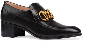 Gucci Women's Leather Horsebit Chain Loafers