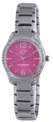 Chronotech (クロノテック) - Chronotech Woman 's Hot Pink Dial Crystal BezelステンレススチールWatch