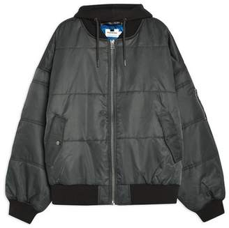 Topman Mens Grey Oversized Bomber Jacket With Removable Hood