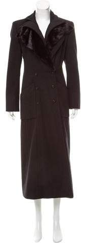 Fendi Mink-Trimmed Double-Breasted Coat