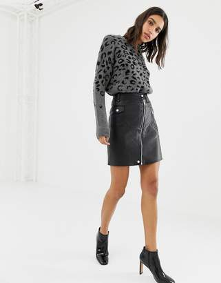 Warehouse faux leather mini skirt with zip front in black
