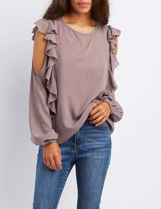 Charlotte Russe Ruffle-Trim Cold Shoulder Blouse
