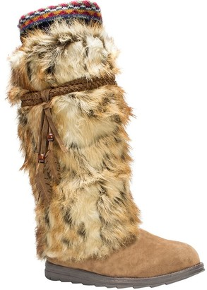 Muk Luks Leela Boots with Faux Fur, Feather Details