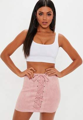 Missguided Pink Faux Suede Lace Up Front Mini Skirt