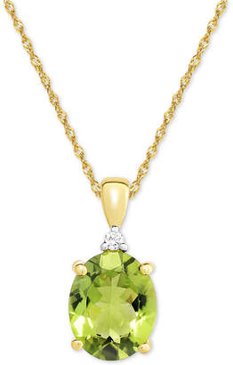 Macy's Peridot (2-1/2 ct. t.w.) & Diamond Accent Pendant Necklace in 14k Gold