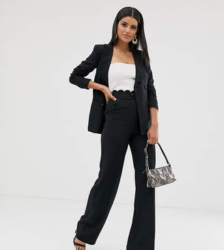Fashion Union Tall straight leg pants with scallop waist detail two-piece