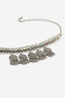 Topshop Bead and Coin Drop Choker