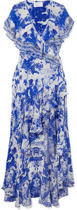 Camilla Embellished Printed Silk Crepe De Chine Wrap Maxi Dress - Blue
