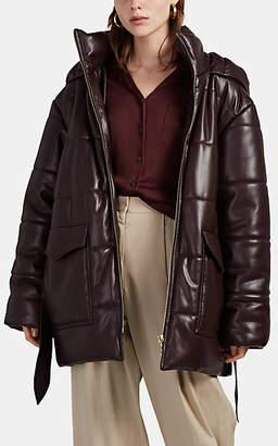 Nanushka Women's Lenox Vegan-Leather Hooded Puffer Jacket - Dk. Purple