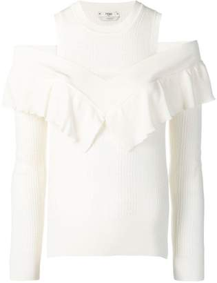 Fendi ruffle cold-shoulder sweater