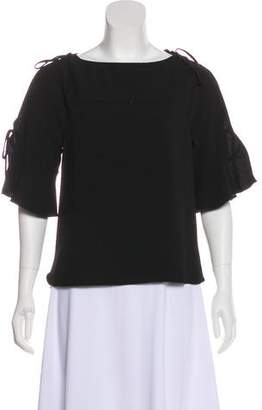 See by Chloe Ruffle-Accented Short Sleeve Top
