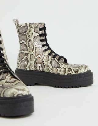 Asos Design DESIGN Attitude chunky lace up boots in snake