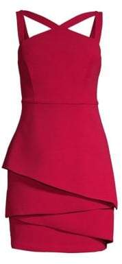 BCBGMAXAZRIA Asymmetrical Peplum Sheath Dress