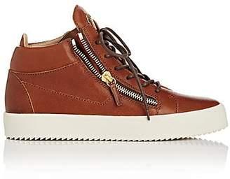 Giuseppe Zanotti Men's Leather Double-Zip Mid-Top Sneakers - Brown