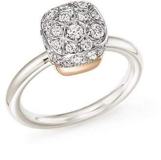 Pomellato Nudo Ring with Diamonds in 18K White and Rose Gold