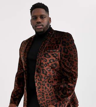Asos Design DESIGN Plus super skinny blazer in leopard print velvet