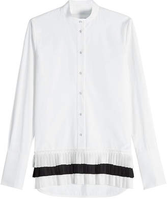 Victoria Beckham Victoria Collarless Cotton Shirt with Pleated Hem