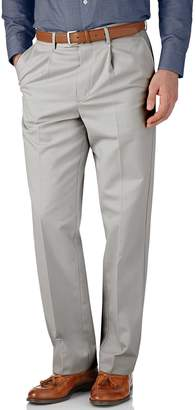 Charles Tyrwhitt Silver Grey Classic Fit Single Pleat Non-Iron Cotton Chino Pants Size W34 L34