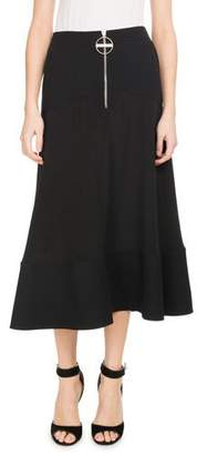 Givenchy A-Line Crepe de Chine Mid-Calf Circle Skirt