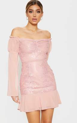 PrettyLittleThing Rose Lace Puff Sleeve Frill Detail Bodycon Dress