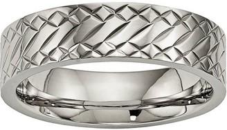 Primal Steel Titanium Polished Textured Ring
