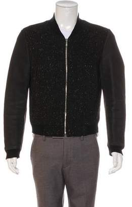 Thom Browne Donegal Wool Leather-Trimmed Bomber Jacket