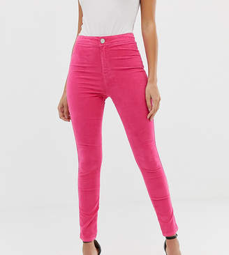 a9390fa21601b Asos Design DESIGN Rivington high waisted jeggings in knockout pink velvet