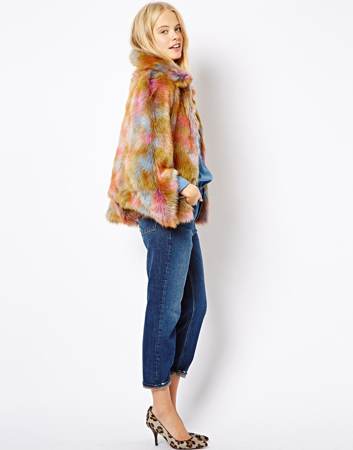 Asos Rainbow Faux Fur Coat