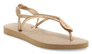 Havaianas Luna Special Metallic Rubber Sandals $50 thestylecure.com
