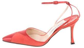 Manolo Blahnik Pointed-Toe Ankle Strap Pumps