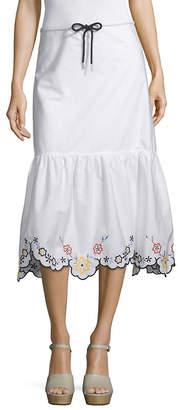 See by Chloe Embroidered Drop-Hem Midi Skirt