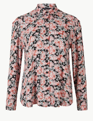 Marks and Spencer PETITE Floral Print Long Sleeve Shirt