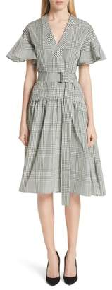 Lela Rose Glen Plaid Flutter Sleeve Dress